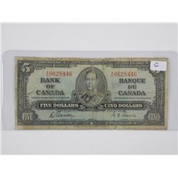 Bank of Canada 1937 - Five Dollar Note (G)