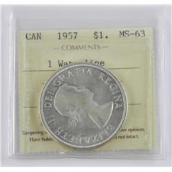 (L20) 1957 Canada Silver Dollar 1 Waterline MS63 I