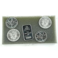 Lot (5) .9999 Fine Silver Collector Bullion.