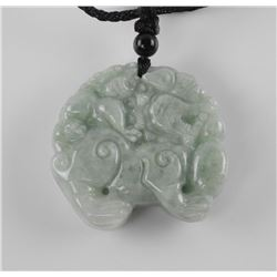 Burma Jade Hand Carved Pendant Dragon with Mouth O