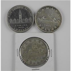 3x King George Silver Dollars: 1935-1936-1939