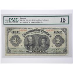 1911 H-L $1.00 Green Line Dominion of Canada PMG 1