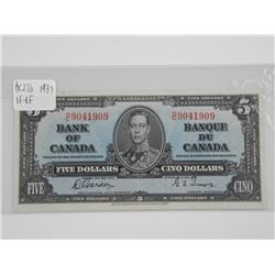 Bank of Canada 1937 - Five Dollar Note. G/T (VF-EF