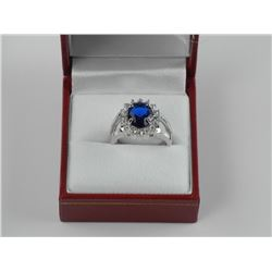 .925 Silver, Lady Diana Style Ring w/Sapphire Blue