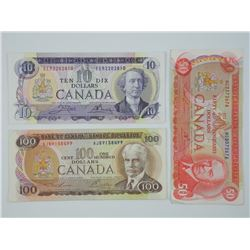 Lot (3) Bank of Canada 1971 & 1975 ($10.00) ($50.0
