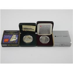 Lot (2) Proof CAD Silver Dollars: 1995-1999