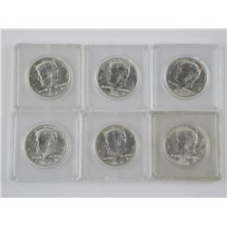 Lot (6) Kennedy Silver 50 Cents. 90% Silver