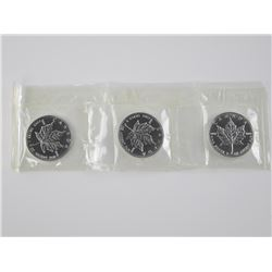 3x 1999 .9999 Fine Silver Maple Leaf $5.00 Origina
