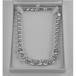.925 Silver Custom Necklace, Over 150ct. Swarovski