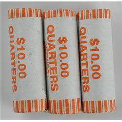 Lot (3) Original US Mint Rolls 25 Cents.