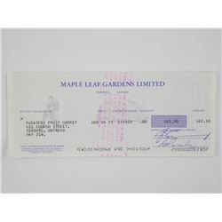 Maple Leaf Gardens - Original Cheque, Dated Nov 19