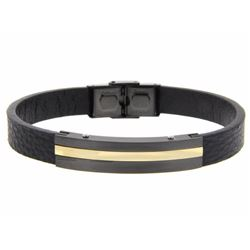 Gents Leather & 18/10 Stainless Steel Bracelet 2-T