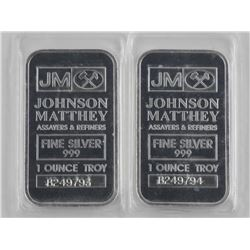 2x JM .9999 Fine Silver Bars - 1 Troy Ounce with S