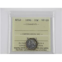 NFLD 1896 10 Cent VF-20 ICCS.