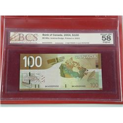 Bank of Canada 2004, $100.00 BC-66a, Jenkins-Dodge, Printed in 2003 - 2 Digit Radar, 4 Cycle Repeate