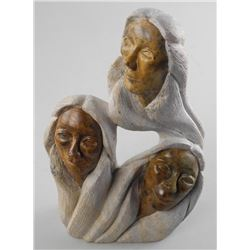 'Original Sculpture' 'First Nation Artist' Loreen Henry' 'Three Sisters' Hand Signed on Bottom 12Hx8