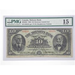 Canada, Molsons Bank 1908, $10.00, Montreal, Canada East PMG - IS, Choice Fine. Scarce Note. Approxi
