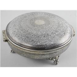 Estate - Sterling Silver Sener, Footed w/Folding Lid, Engraving Top and Bottom, 551 Grams. Hallmarke