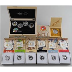 Warner Brothers/RCM Looney Tunes Deluxe Collection 5x .9999 Fine Silver $20.00 Coins, ' wAtch & Case