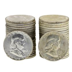 Lot of 1963 & 1963-D Brilliant Uncirculated Franklin Half Dollar Rolls