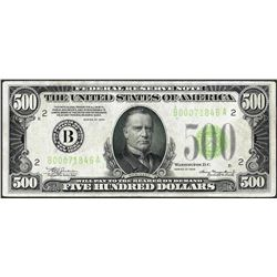 1934 $500 Federal Reserve Note New York Light Green Seal