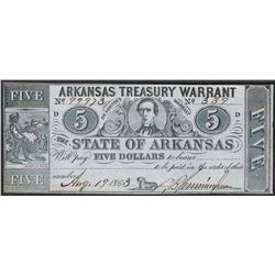 1863 $5 Arkansas Treasury Warrant Obsolete Note