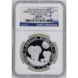 2014 Somalia 100 Shillings African Wildlife Elephant Silver Coin NGC MS69 ER