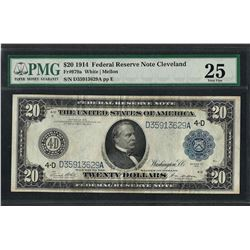 1914 $20 Federal Reserve Note Cleveland Fr.979a PMG Very Fine 25