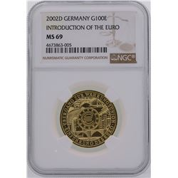 2002D Germany 100 Euro Introduction of the Euro Gold Coin NGC MS69