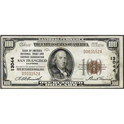 1929 $100 Bank of America National Trust & Savings San Francisco Note CH# 13044