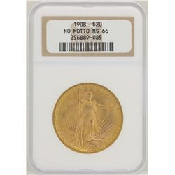 1908 No Motto $20 St. Gaudens Double Eagle Gold Coin NGC MS66