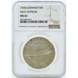 1930J Germany 5 Marks Graf Zeppelin Coin NGC MS63