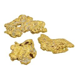 Lot of (3) Australian Gold Nuggets 2.359 Grams Total Weight