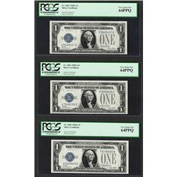 (3) Consecutive 1928A $1 Funnyback Silver Certificate Notes PCGS Very Choice New