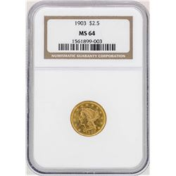 1903 $2 1/2 Liberty Head Quarter Eagle Gold Coin NGC MS64