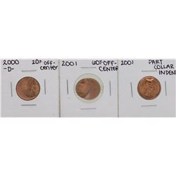 Lot of 2000-D & 2001 Off-Center, & 2001 Collar Indent Lincoln Wheat Cent ERROR C