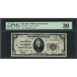 1929 $20 Federal Bank of San Francisco Note Fr.1870-L PMG Very Fine 30