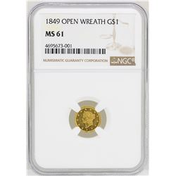1849 Open Wreath $1 Liberty Head Gold Dollar Coin NGC MS61