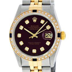 Rolex Men's Two Tone 14K Maroon VS Diamond & Sapphire Datejust Wristwatch