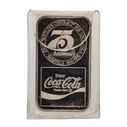 1975 75th Anniversary Coca Cola 1 oz .999 Fine Silver Art Bar