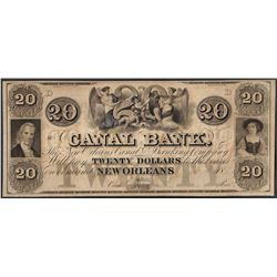 1800' $20 Canal Bank New Orleans Obsolete Note
