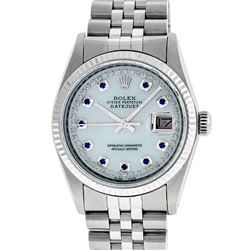 Rolex Men's Stainless Steel Mother Of Pearl Diamond & Sapphire Datejust Wristwat