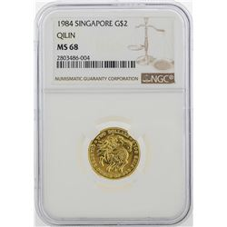 1984 Singapore $2 Gold Coin NGC MS68