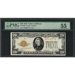 1928 $20 Gold Certificate Note Fr.2402 PMG About Uncirculated 55