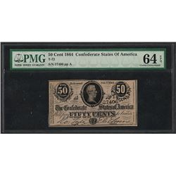 1864 50 Cents Confederate States of America Note T-72 PMG Choice Uncirculated 64