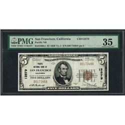 1929 $5 National Currency Note San Francisco, CA CH# 12579 PMG Choice Very Fine