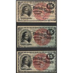 Lot of (3) 1863 Fourth Issue 15 Cent Fractional Currency Notes