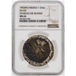 RARE 1983MO Mexico 1 Onza Silver Libertad Doubled Die Reverse Coin NGC MS64