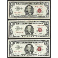 Lot of (3) 1966 $100 Legal Tender Notes