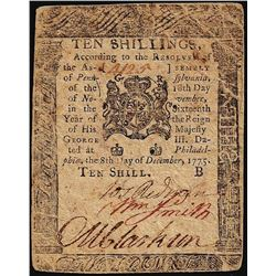 Dec. 8, 1775 10 Shillings Pennsylvania Colonial Currency Note- M. Clarkson Signa